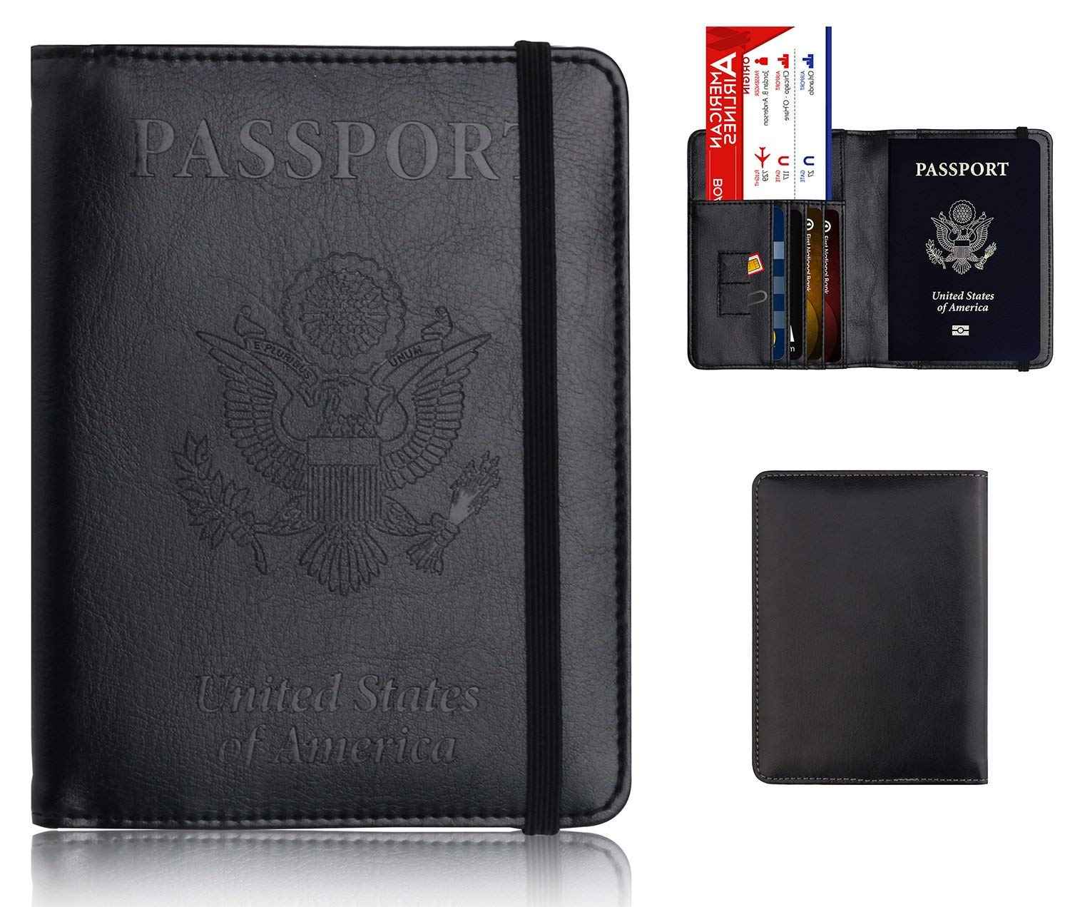 a6f9c106d Leather Passport Holder Cover Leather Rfid Blocking Passport Wallet Case  for Men Women With Elastic Band