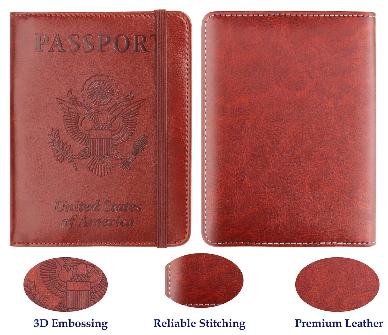 Passport Holder RFID Blocking Premium Leather Travel Wallet Cover for Men//Women
